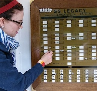 Keeping track of passengers with the S.S. Legacy magnet board