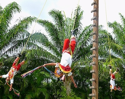 The 'Pole Flying Dance' in Cozumel, Mexico