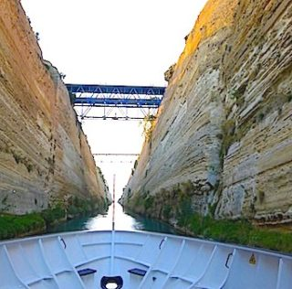 Tight squeeze going through Corinth Canal