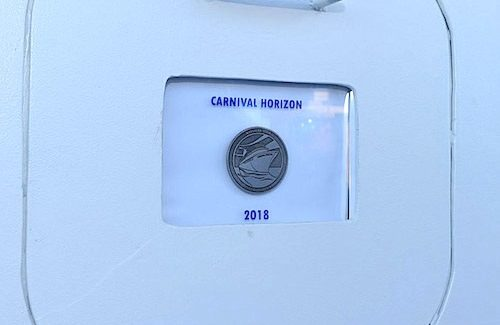 Coin for ship protection welded onto new Carnival Horizon